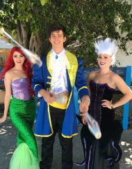 Ariel, Prince Eric and Ursula roaming around before performing 'The Little Mermaid' Stage Show.